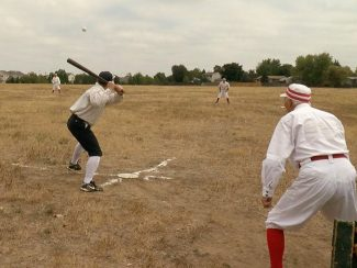 Tim Stabbe, team captain of the Stars and commissioner of the CVBBA, hits during the Stars versus the Reds game.