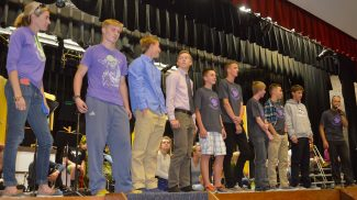 The MPHS boys Cross Country Team during the pep assembly send off on Thursday Oct. 24, 2016.