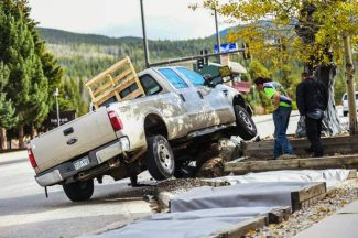 A male driver hit the light pole near Cooper Creek on US Highway 40 Monday afternoon.