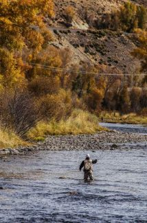 Fishermen spending a warm, sunny afternoon angling for brown trout along the Colorado River, west of Parshall, Sunday, October 9.