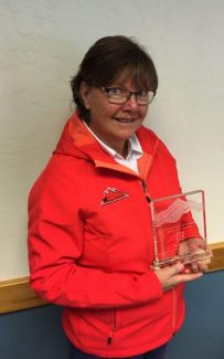 Jill Childress with her 2016 Realtor of the Year award.