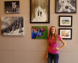 Laura Veenstra will be showing her local artwork at the Fraser Valley Library for the month of October.  Veenstra designed the poster for the 2016 Art Affair in Winter Park and creates custom designed paintings and watercolors.