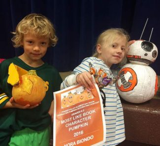 Fraser Valley Elementary K-2 winners. From left: Funniest Pumpkin Virgil Villup (The Snitch Harry Potter) and  Best Look-a-Like Nora Biondo, (Star Wars Finne And Rey Escape BB-8).