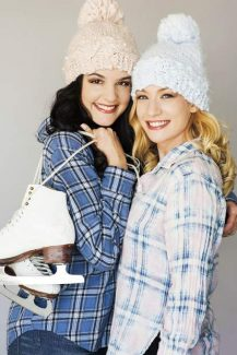 Maddison Bullock (left) and Lisa Mihelich pose for a photo for the movie Ice.