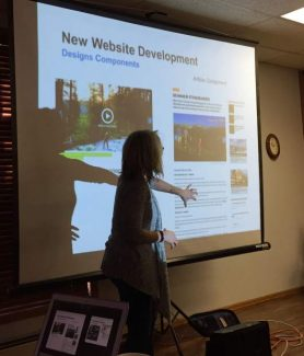 Karen Ruby from Miles Partnership presents the new website concept to the Winter Park & Fraser Chamber's Advisory Committee on Tuesday, Nov. 8.