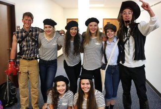 Seniors dress up for Halloween on Monday, October 31. From the left, top row: Jensen Hill, Ashley Trotter, Makenna Green, Amanda Debevec, Alistair Schwab. Bottom row from left:  Niki Mitchell and Abby Wollan.