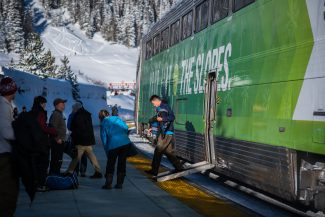 Negative Degree temperatures greeted Ski Train passengers, but the excitement of the arrival the train provided warmed the crowd of happy skiers.