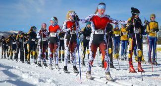 High school girls prepare for the start of the 5km classic cross-country ski race, part of the Snow Mountain Ranch Classic, held Saturday morning Jan. 7.