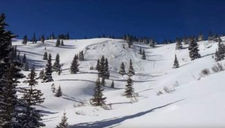 A photo of the avalanche on First Creek north of Berthoud Pass.