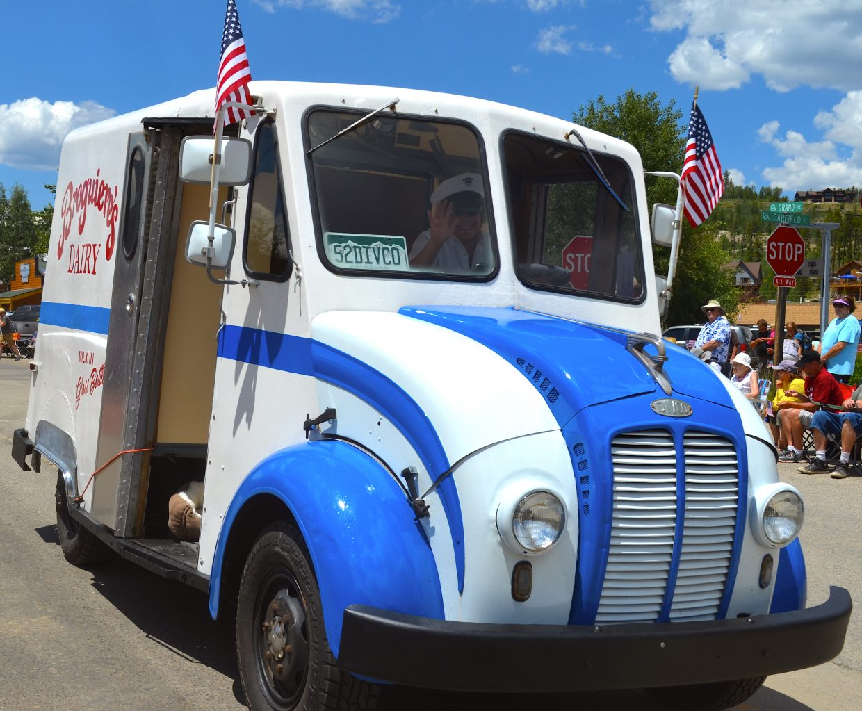 The Buffalo Days Parade featured several vintage automobiles including this restored milk truck.
