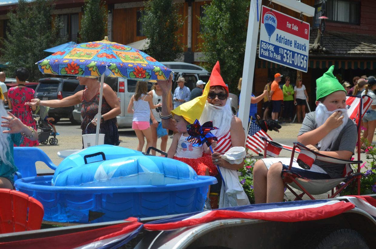 Real estate agent Adriane Hauck's float during the Buffalo Days Parade featured a garden gnome theme.