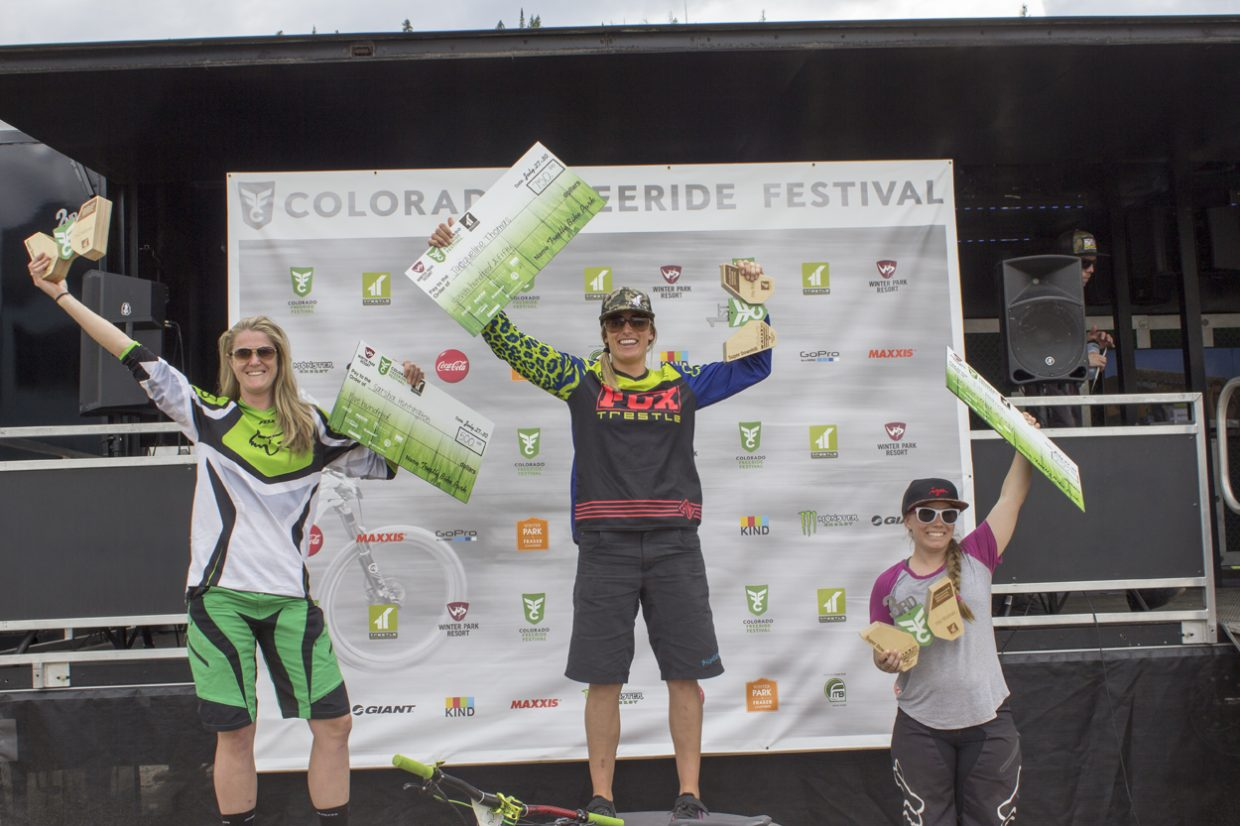 Winners of the Women's Super Downhill pro race. From left to right: Sarsha Huntington, Jacqueline Thomas and Jill Behlen. Sawyer D'Argonne / Sky-Hi News.