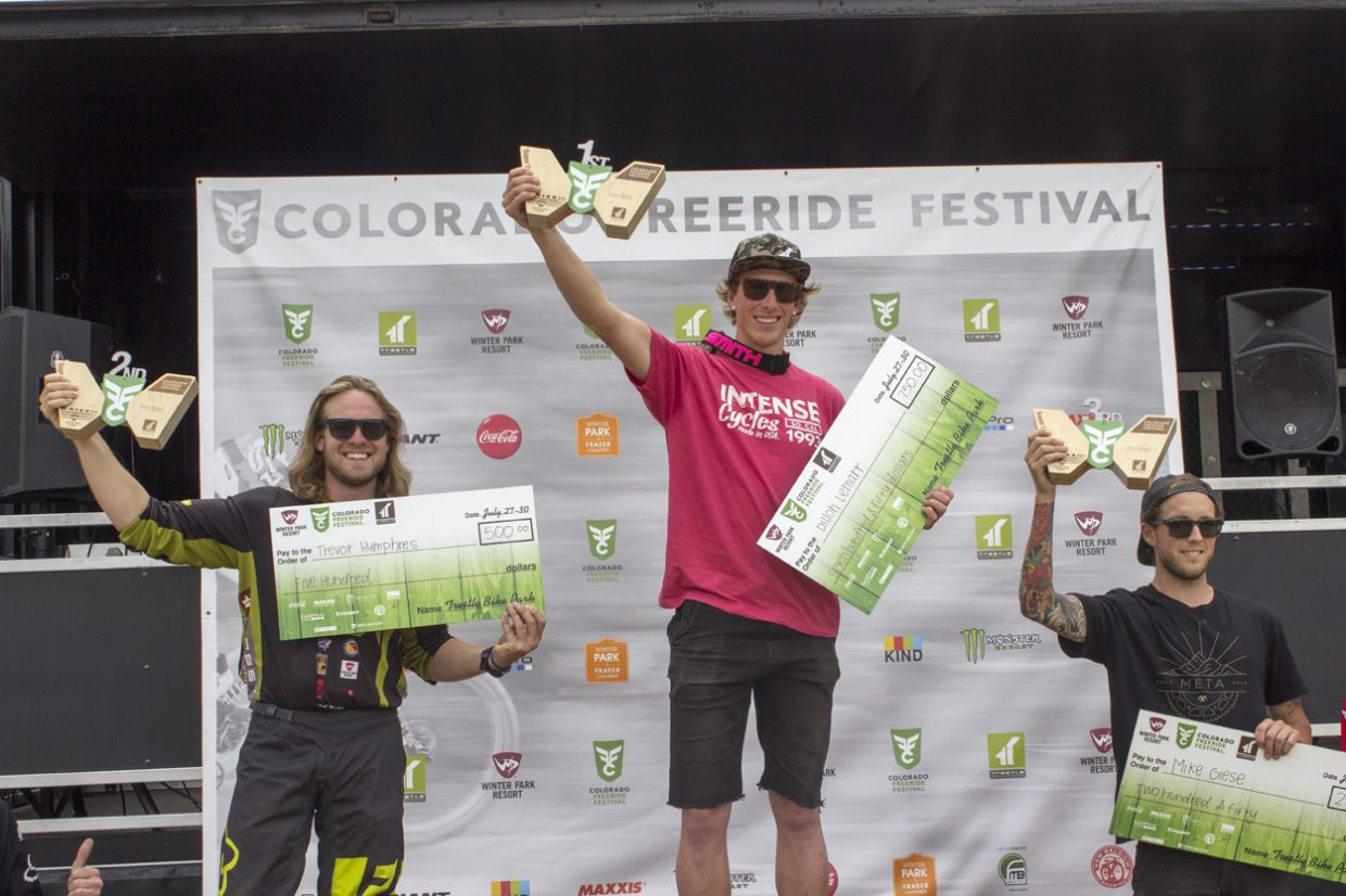 Winners of the Men's Super Downhill pro race from left to right: Trevor Humphries, Dillon Lemarr and Mike Giese. Sawyer D'Argonne / Sky-Hi News.