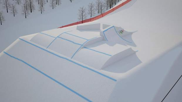 Section five of the Olympic Slopestyle Course to be used in February's 2018 Pyeongchang Winter Olympic Games at Bokwang Phoenix Park Ski Resort.