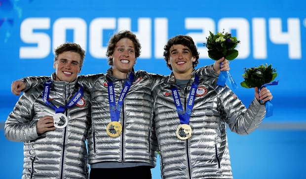 Men's slopestyle skiing medalists (from left): Gus Kenworthy with silver, Joss Christensen with gold, and Nicholas Goepper with bronze, all from the United States, pose with their medals at the 2014 Winter Olympics in Sochi, Russia. It was only the third time Americans have swept an event at the Winter Games, and the first since 2002.