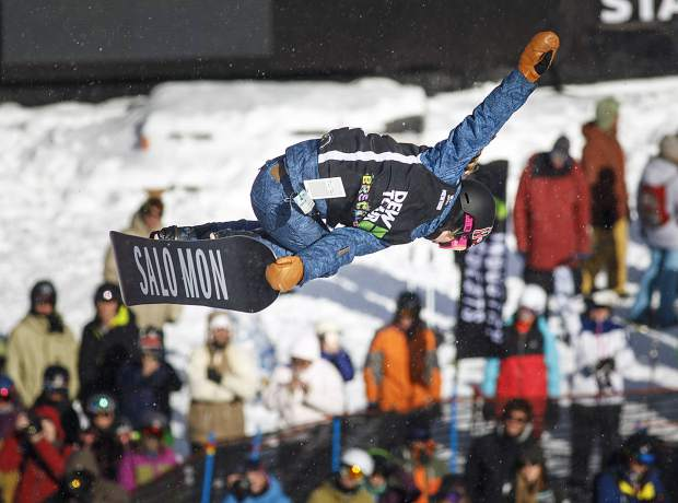 Maddie Mastro of the United States competes in the snowboard superpipe qualifiers during the Dew Tour event Thursday, Dec. 14, at Breckenridge Ski Resort. Mastro qualified in second place with a high score of 91.66.