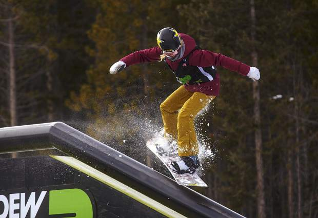 Silje Norendal of Norway competes in the slopestyle qualifications during the first day of Dew Tour Wednesday, Dec. 13, at Breckenridge Ski Resort.