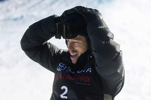 Shaun White of United States reacts after finishing his last heat of the halfpipe finals during the U.S. Grand Prix event Saturday, Dec. 9, at Copper Mountain. White took home third with a high score of 89.25.