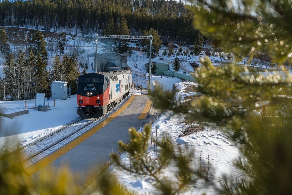 The Amtrak Winter Park Express passes through Moffat Tunnel heading to Winter Park Resort on Friday morning. (Photo by Carl Frey/Winter Park Resort)
