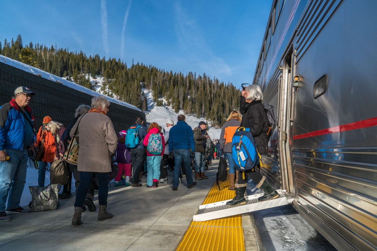 Passengers of the Amtrak Winter Park Express arriving Jan. 5 on the platform at Winter Park Resort.