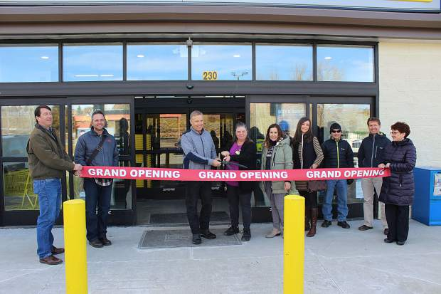 The Granby Chamber of Commerce gathers to celebrate the ribbon cutting ceremony for the recently opened Dollar General on Friday, Jan. 5, 2018. From left to right: Chamber Board member Frank DeLay, Town Manager Aaron Blair, Mayor Paul Chavoustie, Store Manager Anita McGehee, Chamber Executive Director Jessica Blair, Chamber Board member TeNeil Hartley, Chamber Board member Joe Kelley, Chamber Director Mike Periolat and Chamber board member Kristie DeLay.