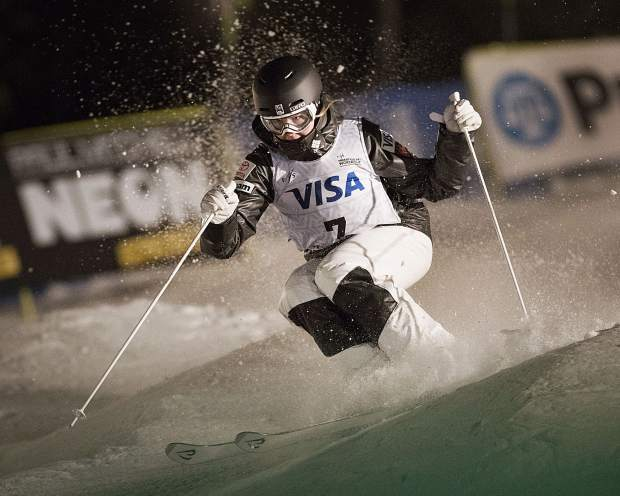Morgan Schild races down Champion run at Deer Valley Resort during the women's finals of the Visa FIS Freestyle World Cup Moguls event Thursday evening, January 11, 2018. Schild punched her ticket to the games in Pyeongchang after racing in the annual event. (Tanzi Propst/Park Record)