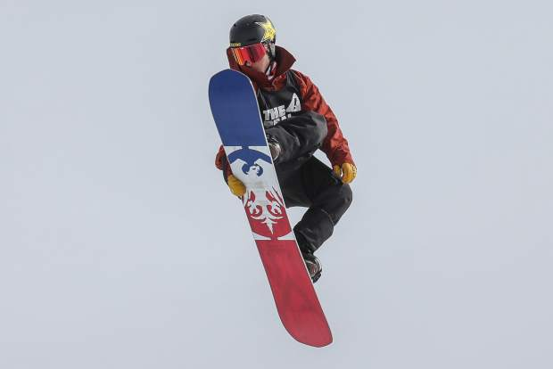Chris Corning grabs during the Men's Slopestyle Final on Saturday, Jan. 27, in Aspen.