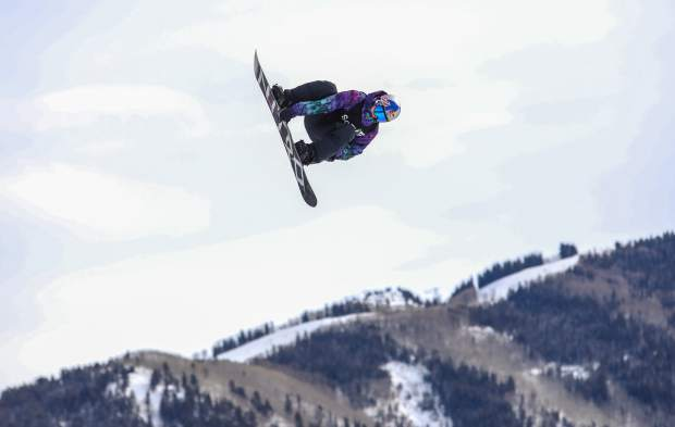 Marcus Kleveland flies through the air during the Men's Snowboard Slopestyle Finals during the X-Games on Saturday, Jan. 27, in Aspen. Kleveland took the gold.
