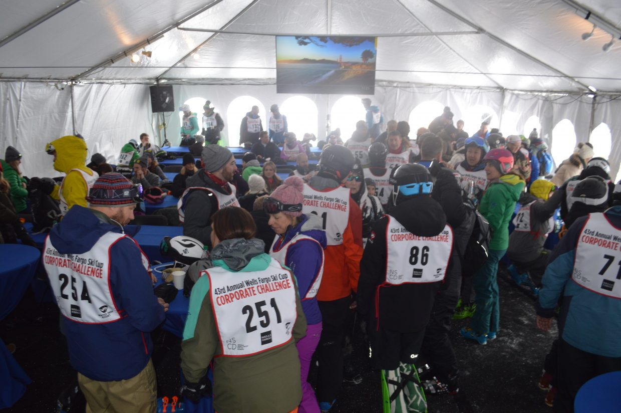 A look inside the racer's tent.
