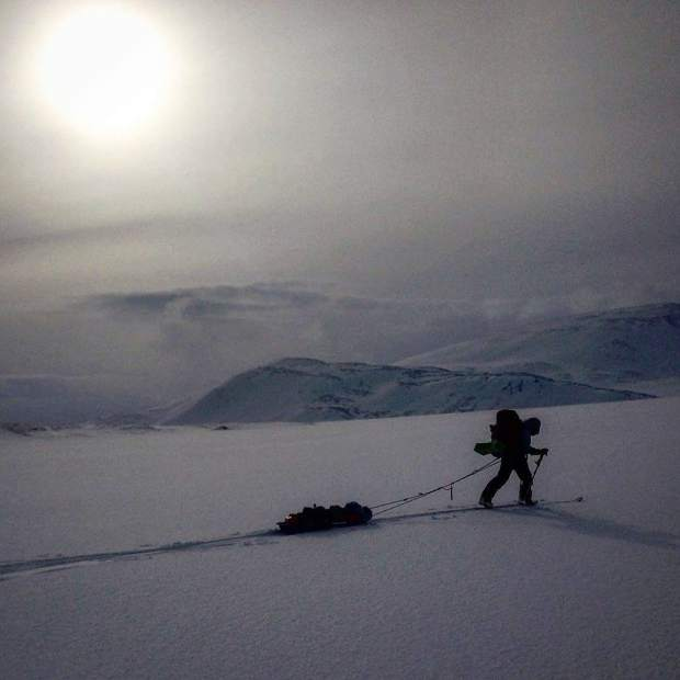 Callie Morgigno of Leadville skis while dragging her sled at an unknown location in the Ural Mountains in Russia.