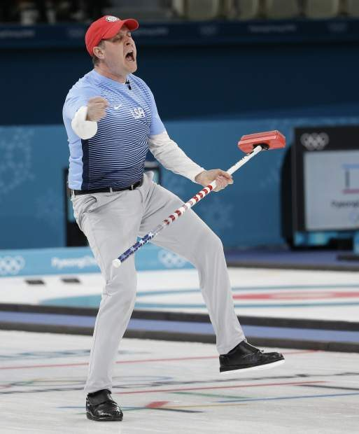 United States's skip John Shuster reacts during the men's final curling match against Sweden at the 2018 Winter Olympics in Gangneung, South Korea, Saturday, Feb. 24, 2018. (AP Photo/Natacha Pisarenko)