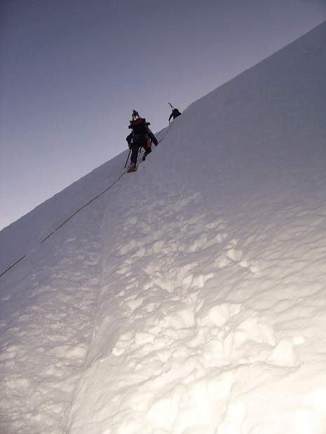 Mike (left) and Steve Marolt ascend Cotopaxi in the Andes Mountains of Ecuador.