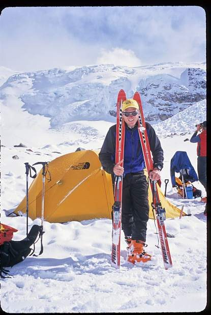 Mike Marolt takes a breather after becoming the first American to ski from 8,000-meter Shishapangma in Tibet.