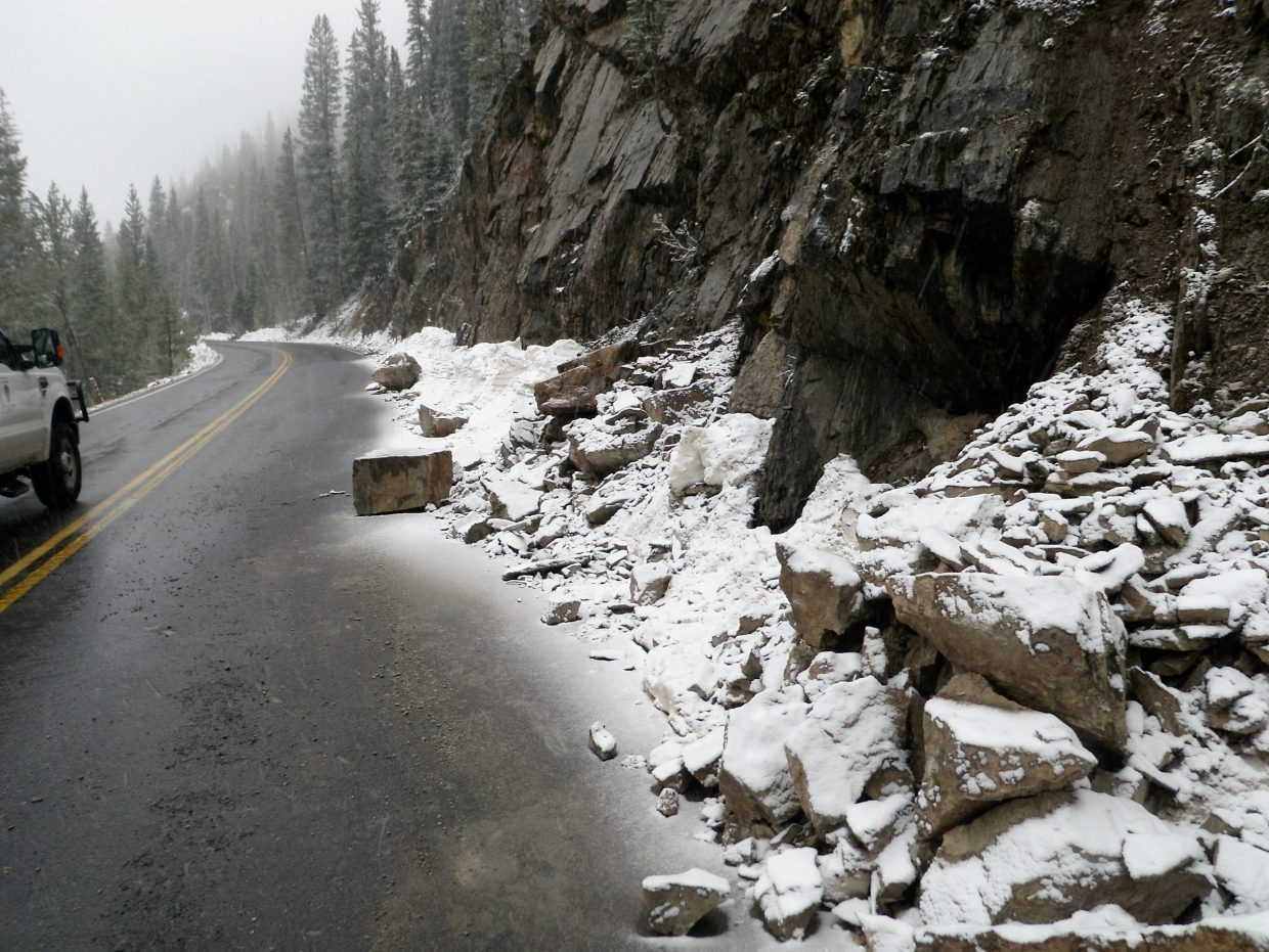 West side rockfall on Trail Ridge Road.