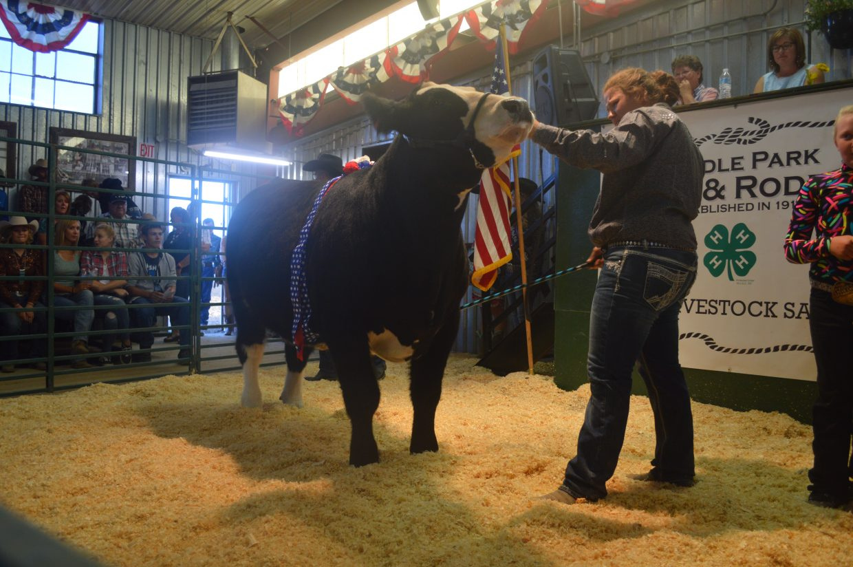 Robyn Halley, from Kremmling, tears up as she shows her grand champion steer. After 14 years participating in 4-H, this is her last year. She showed steer, pigs, goats and sheep.