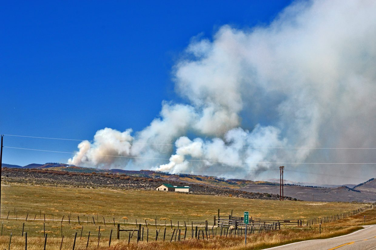 The Silver Creek Fire in the early afternoon Friday, Sept. 14 continues showing off a large smoke plume.