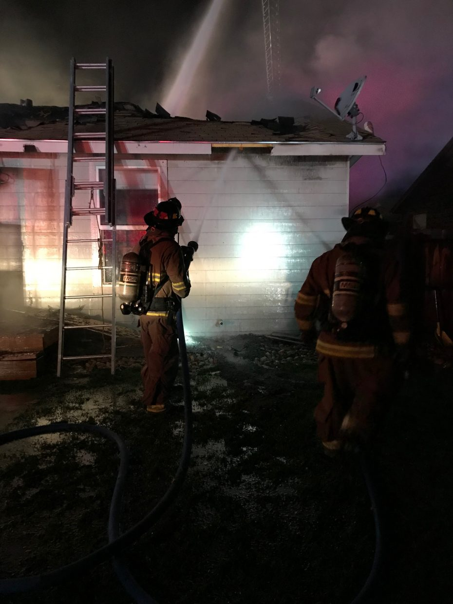 Fire crews battle the blaze Sunday night.