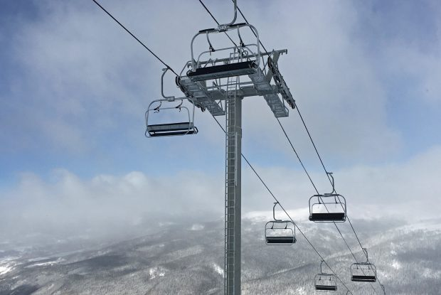 The new quad chairs on the new Beavers chairlift at Arapahoe Basin Ski Area are in view on Sunday.