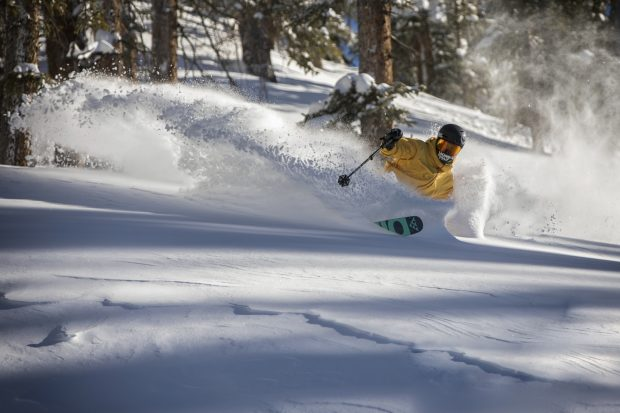 A skier carves turns in fresh powder in The Beavers terrain expansion at Arapahoe Basin Ski Area. On Monday, A-Basin is scheduled to open lift-service in its newest terrain expansion.
