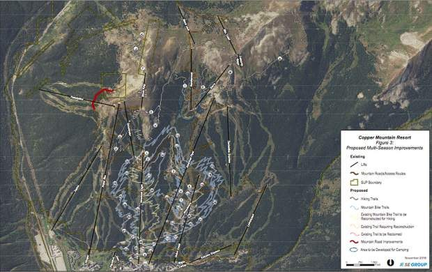 This U.S. Forest Service figure outlines Copper Mountain Resort's proposed expansion of more than 35 miles of new mountain biking, ebike and hiking trails, as well as a summertime, high-alpine overnight-camping setup.