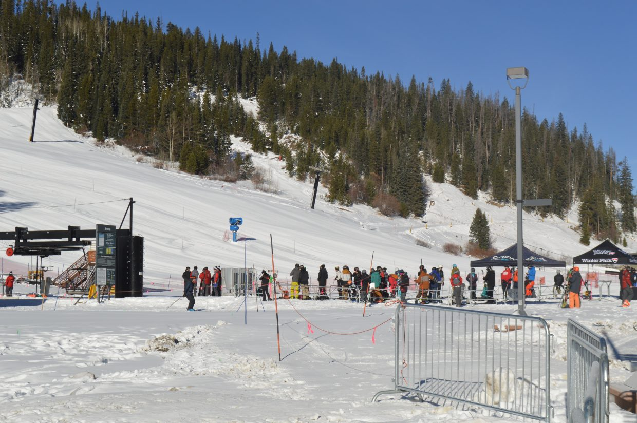 The line for the Arrow lift before the ceremonial first chair at 9 a.m.