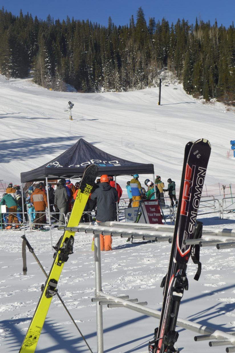 About 50 people waited in line for the first chair ceremony at 9 a.m. at the Arrow lift.