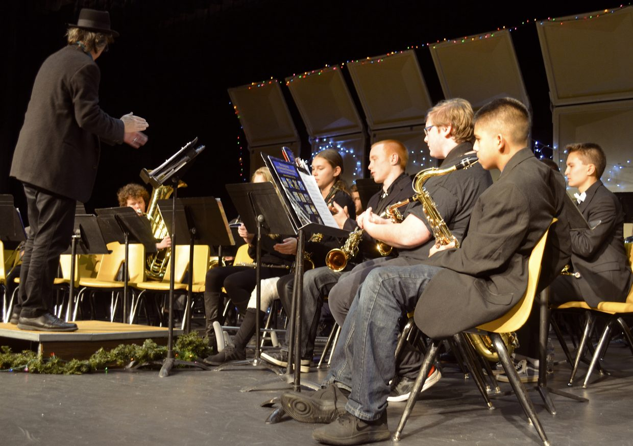 "High school band students play ""Go tell it on the mountain"" during Wednesday night's Holiday Band Concert."