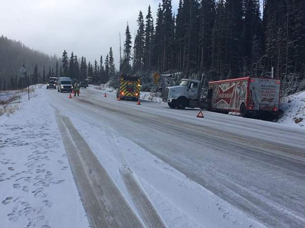 Oct. 8: Westbound Highway 40 is closed at the summit of Berthoud Pass due to multiple vehicle slide-offs. CDOT and emergency crews continue this morning to handle the scene. Ice and snow have created treacherous driving conditions, according to the Grand County Sheriff's Office. Photo courtesy Grand County Sheriff's Office.