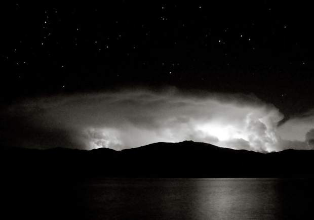 Sept. 6: A striking black-and-white photo of last night's Front Range lightning storm from across Grand Lake. Photo by William Miller.