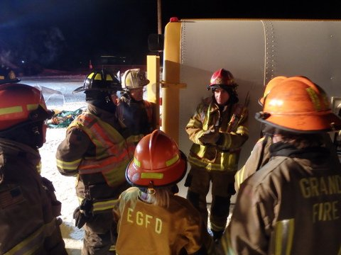 Firefighters from around the county participated in evacuation and extrication drills using an old school bus on Tuesday night in sub-zero temperatures.