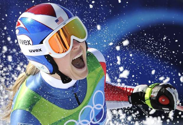 Vonn reacts in the finish area after completing the women's downhill race at the Vancouver 2010 Olympics in Whistler, British Columbia. Vonn announced on Friday that she will retire from ski racing after this month's world championships in Sweden.