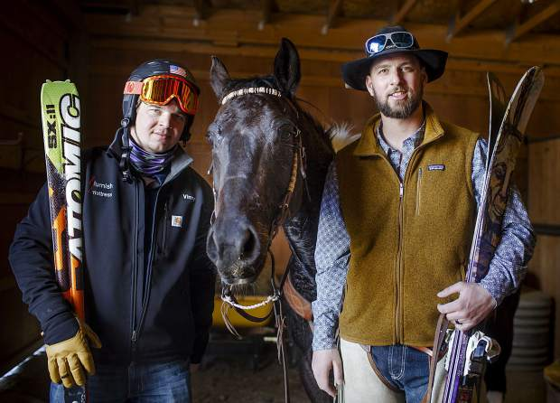 ummit County brothers Vinny (left) and AJ Pestello pose for a photograph inside a barn at Pass Creek Ranch as seen on Wednesday, Feb. 27. The brothers were at the ranch to prep for the weekend's 71st annual skijoring event in Leadville.