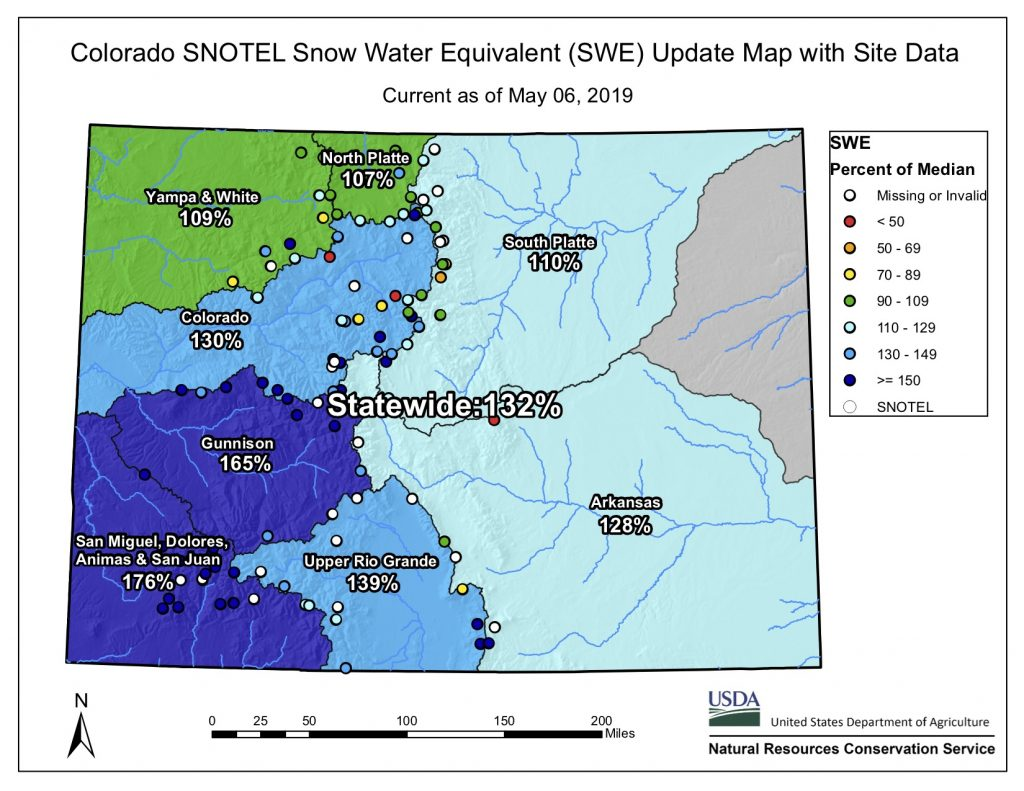 Colorado Snowpack Map Grand County's May snowpack holds strong at 131 percent of average
