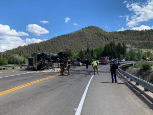 Truck rollover halts traffic just west of Byers Canyon; fuel confirmed not to reach river